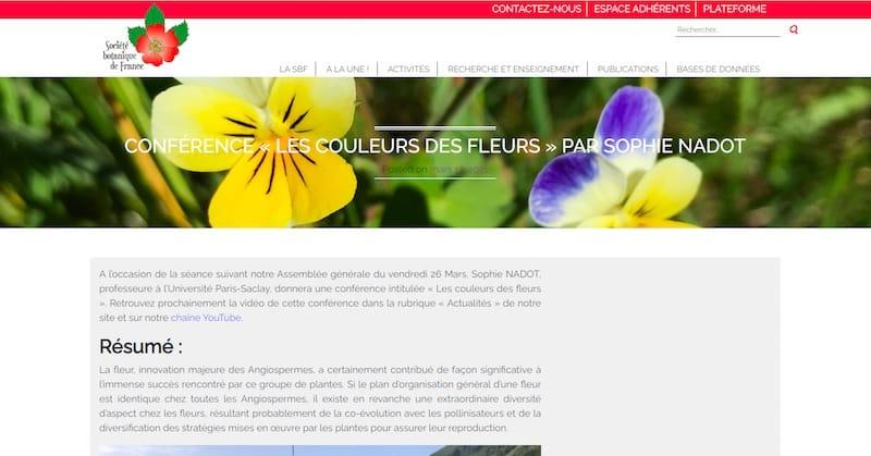 Société Botanique de France page article conférence site vitrine