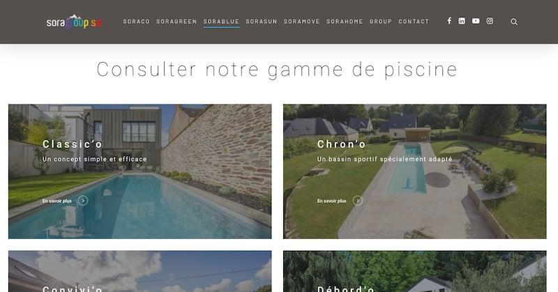 Sorablue page de piscine refonte site internet