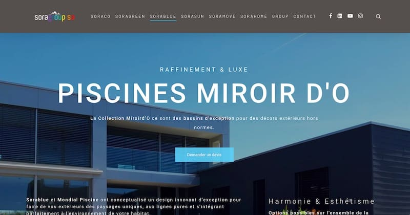 Sorablue Piscines miroir d'o refonte site internet