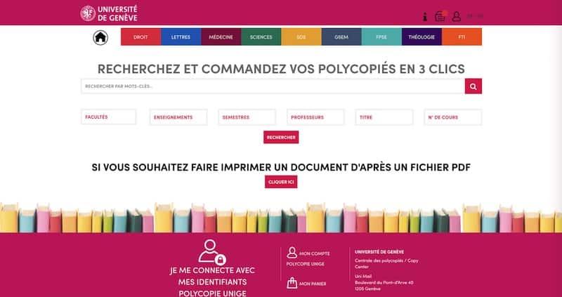 Université de Genève Site Internet Page d'accueil