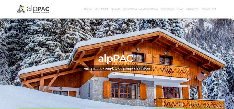 AlpPAC Site internet accueil gamme complète des pompes à chaleur