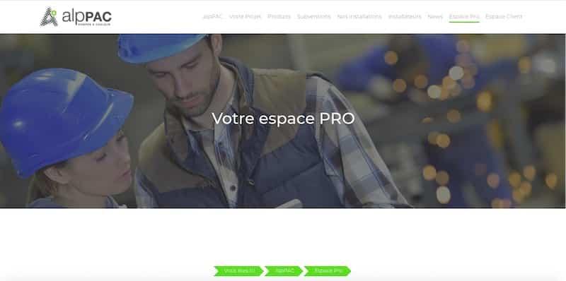 AlpPAC Site internet page espace pro