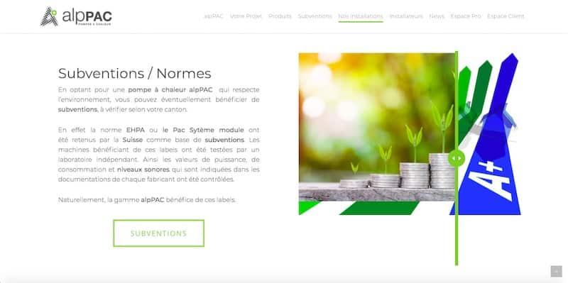 AlpPAC Site internet page subvention normes