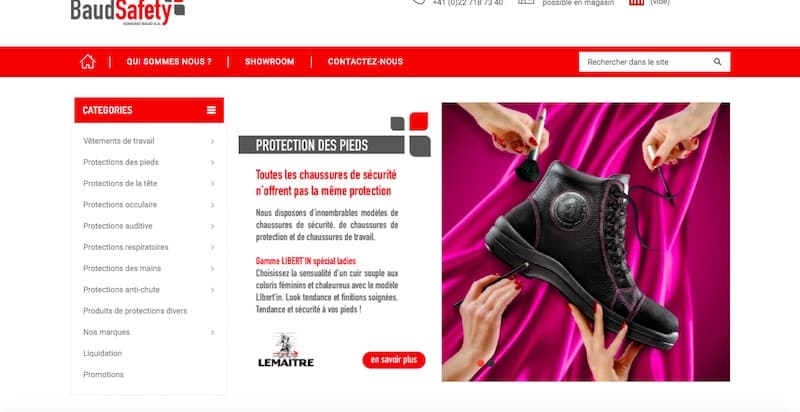 Baud Safety site e-commerce page boutiques