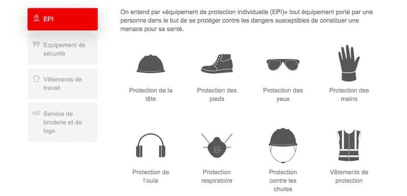 Baud Safety site e-commerce page produits