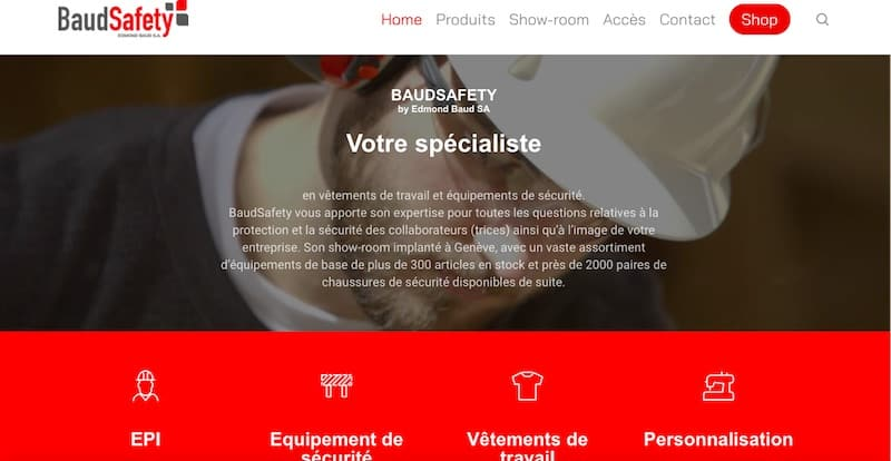 Baud Safety site e-commerce page d'accueil