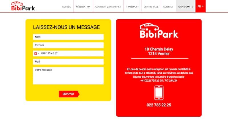 BibiPark site internet page contacts
