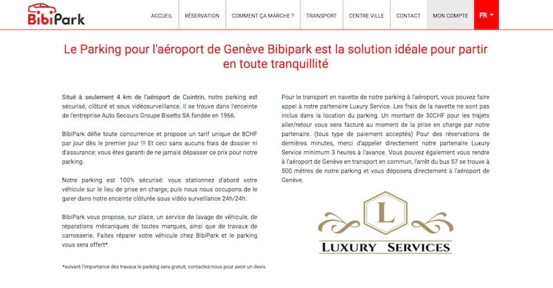 BibiPark site internet page informations