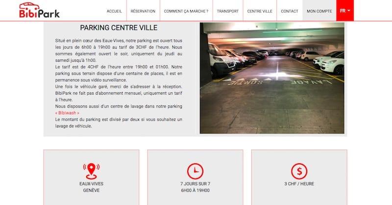 BibiPark site internet page parking au centre ville