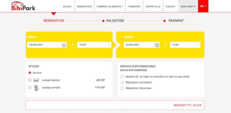 BibiPark site internet page reservation