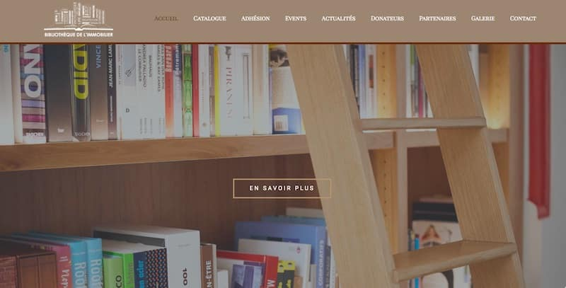 Bibliothèque de l'Immobilier site internet vitrine page d'accueil