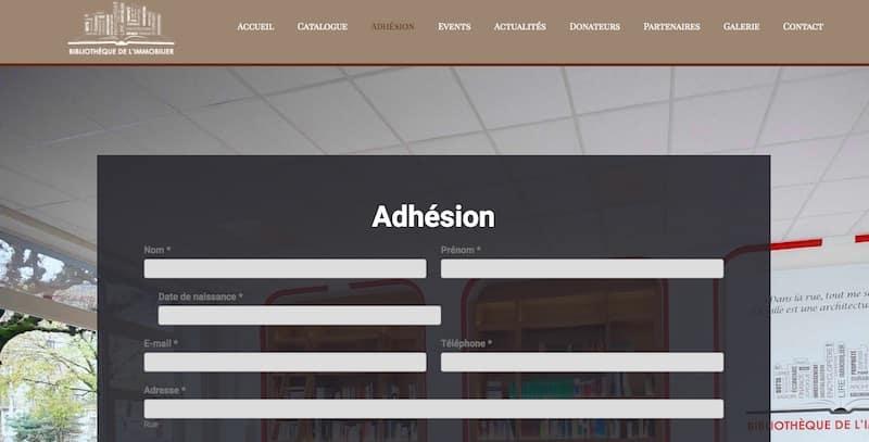 Bibliothèque de l'Immobilier site internet vitrine page adhésion
