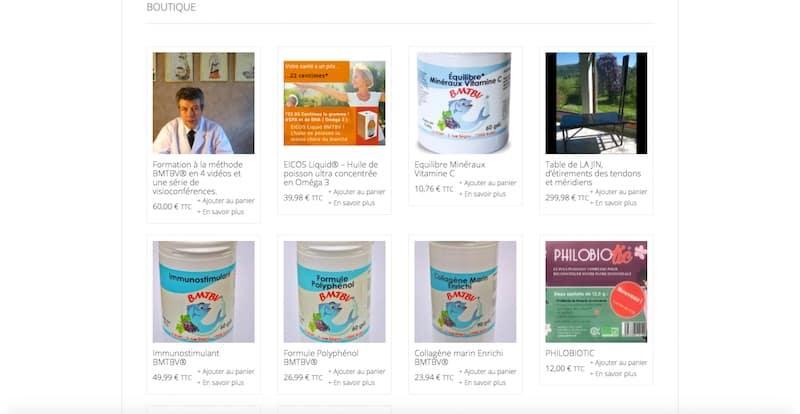 BMTBV Site Internet Page boutique