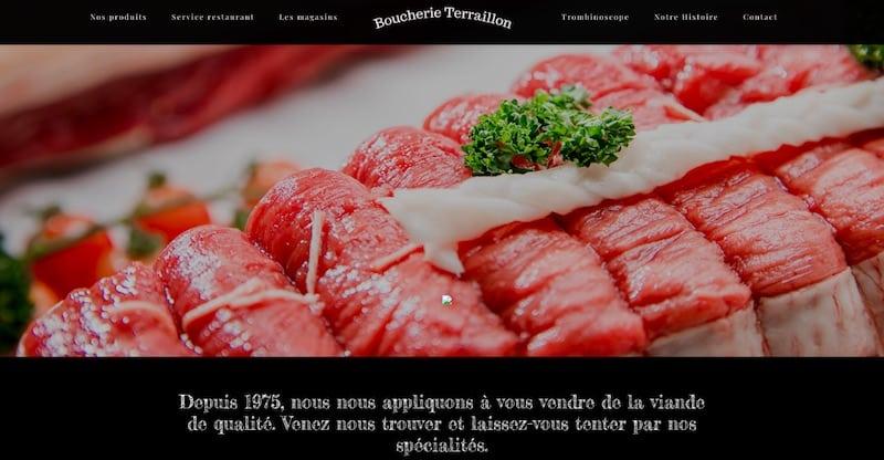 Boucherie Terraillon Site internet page d'accueil