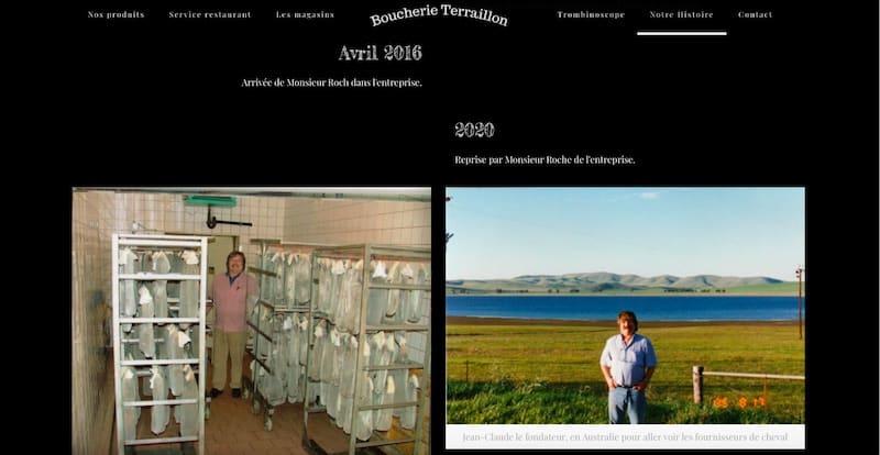 Boucherie Terraillon Site internet page histoire