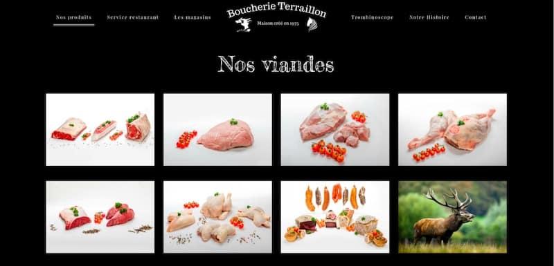 Boucherie Terraillon Site internet page produits