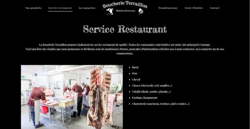 Boucherie Terraillon Site internet page service restaurant