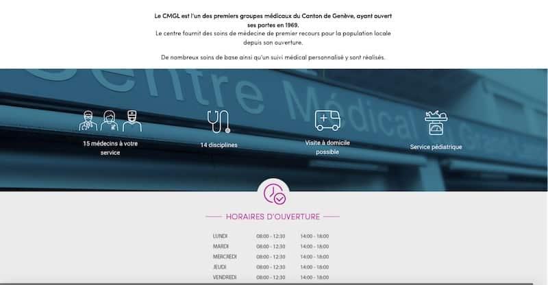 Centre Médical du Grand-Lancy site internet page d'accueil 2