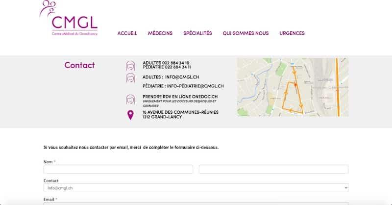 Centre Médical du Grand-Lancy site internet page contact