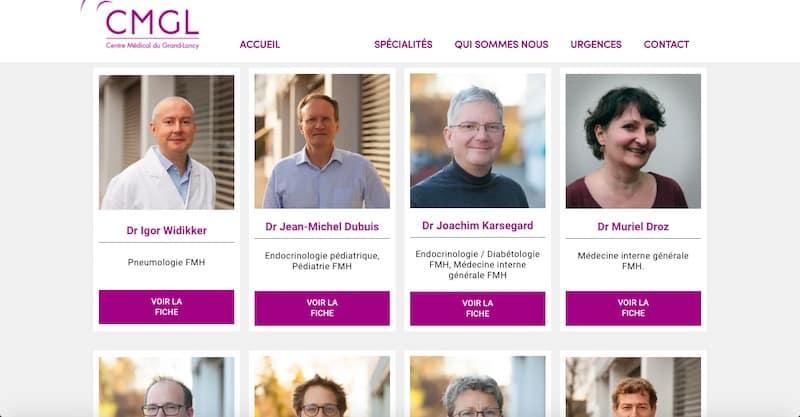 Centre Médical du Grand-Lancy site internet page docteurs