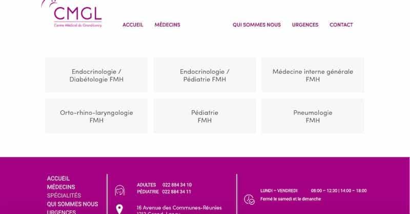 Centre Médical du Grand-Lancy site internet page spécialité
