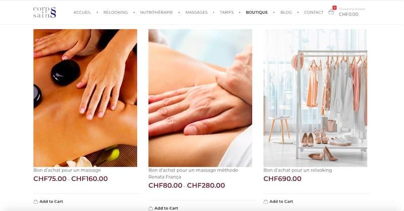 Corps Sains Site internet page boutique