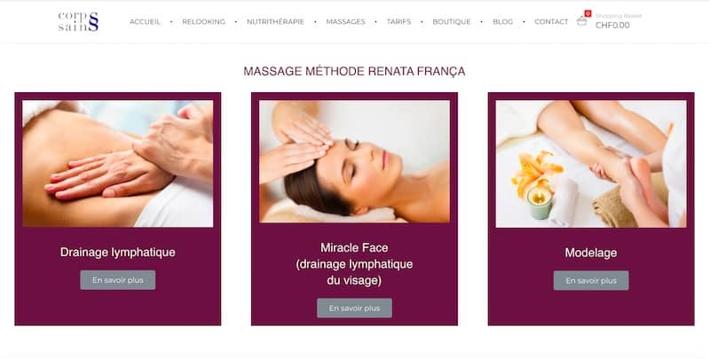 Corps Sains Site internet page massage