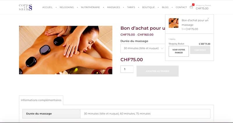 Corps Sains Site internet page shopping basket