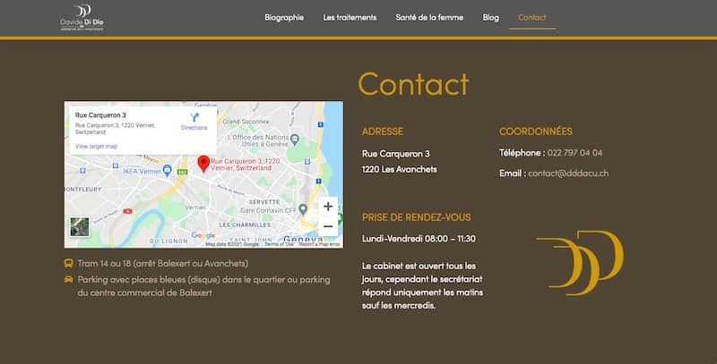 Davide de Dio contacte site internet vitrine
