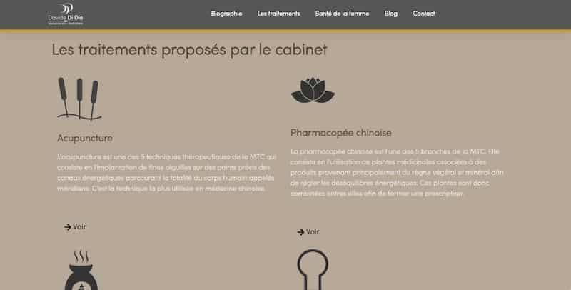Davide de Dio traitements proposés site internet vitrine