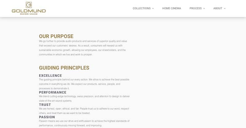 Goldmund site internet vitrine our mission