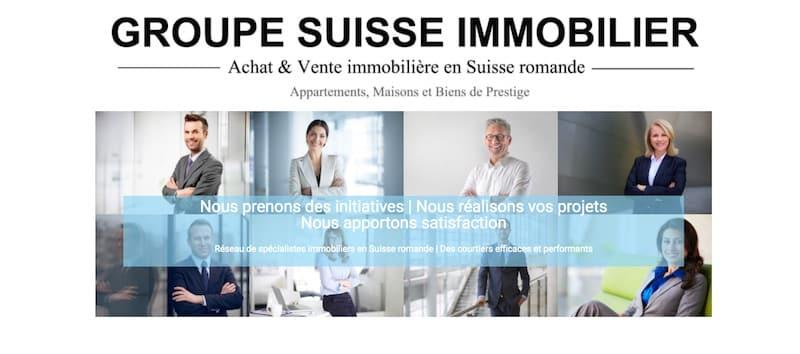 Groupe Suisse Immobilier Landing Page d'accueil