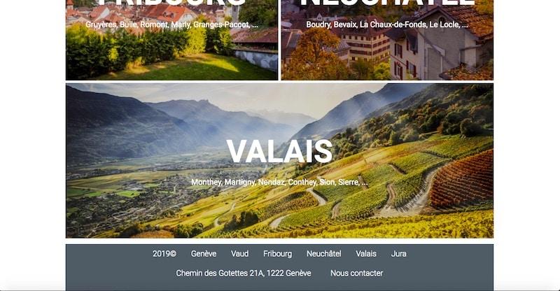 Groupe Suisse Immobilier Landing Page différents canton 2