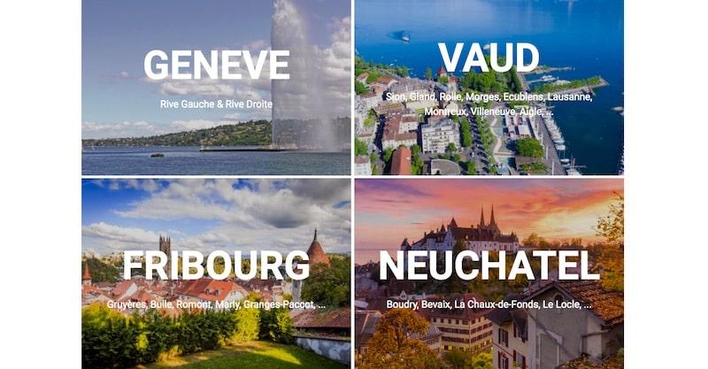 Groupe Suisse Immobilier Landing Page différents canton