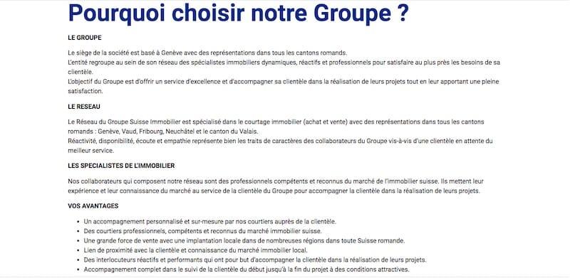 Groupe Suisse Immobilier Landing Page Pourquoi nous choisir