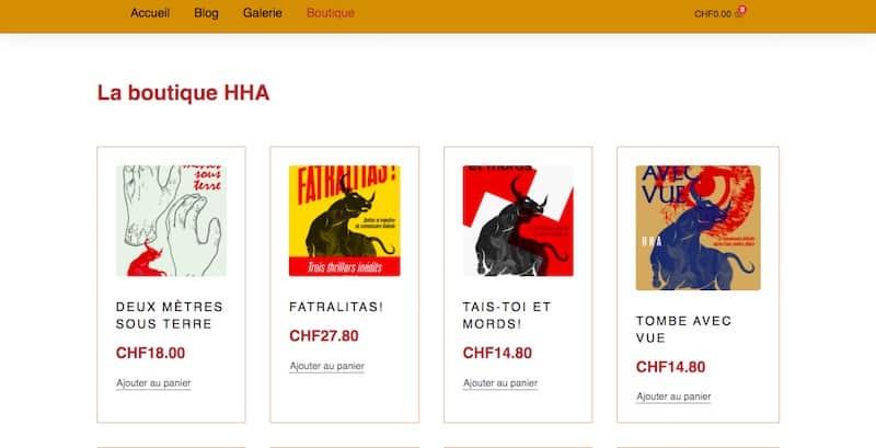 HHA Éditions Site E-commerce Page la boutique