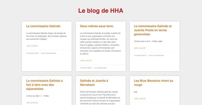 HHA Éditions Site E-commerce Page le blog