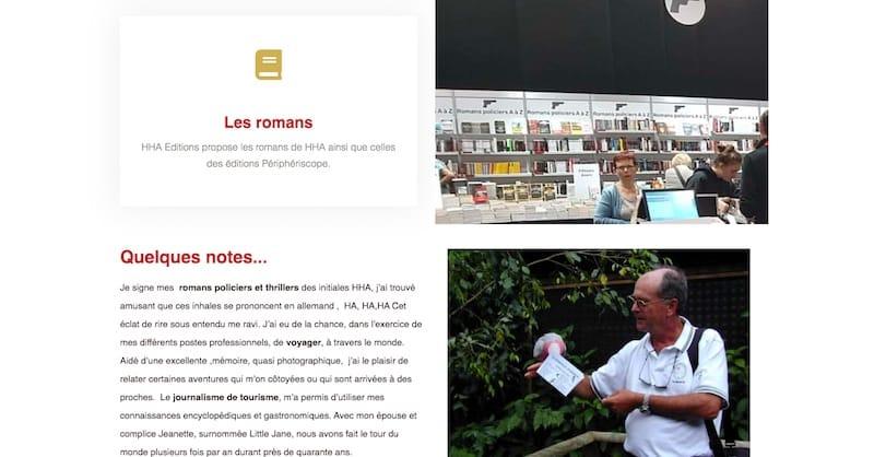 HHA Éditions Site E-commerce Page les romans