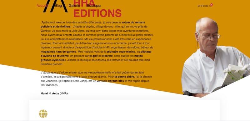 HHA Éditions Site E-commerce Page d'accueil