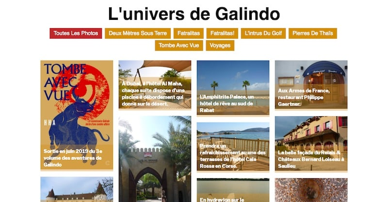 HHA Éditions Site E-commerce Page l'univers de Galindo