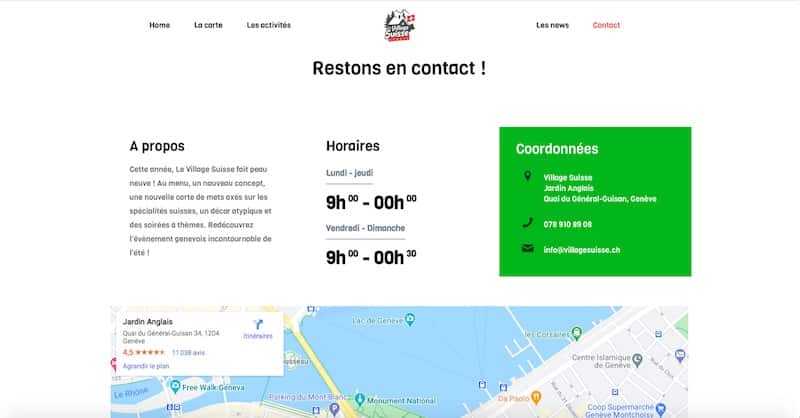 Le Village Suisse site internet contacts