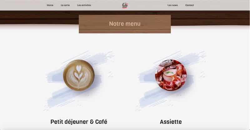 Le Village Suisse site internet la carte nos menus