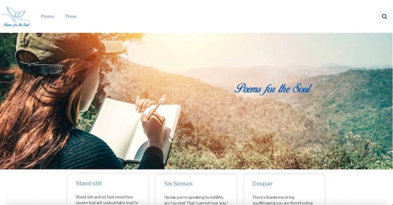 Poems for the Soul Site internet page d'accueil