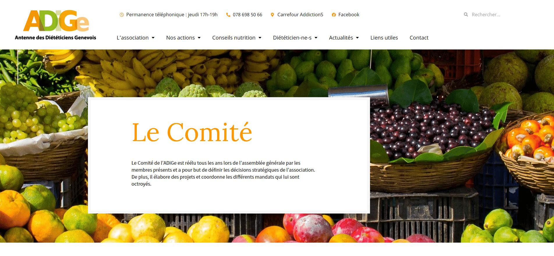 Page du site web de l'Adige pour le comité
