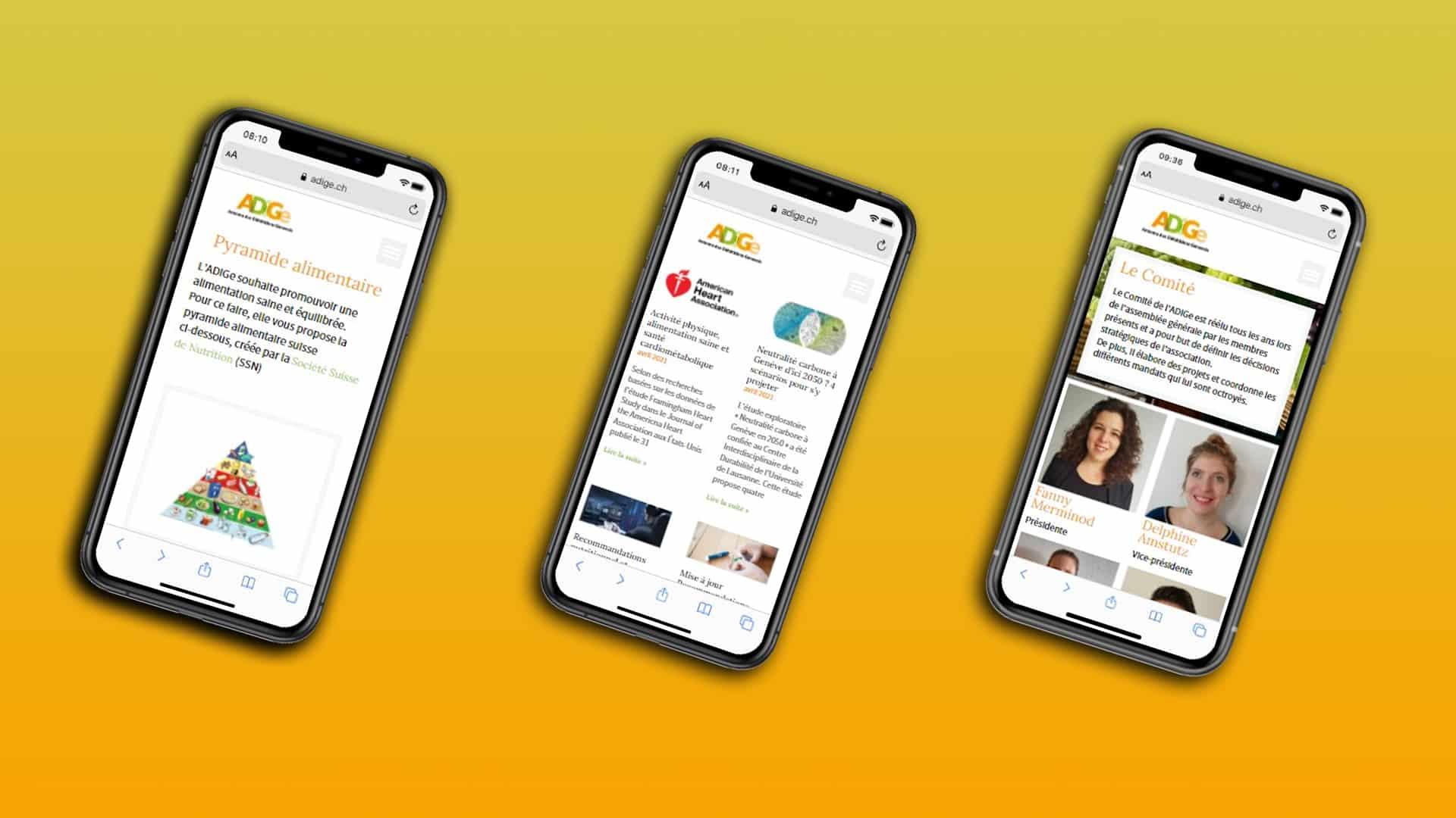 Adige les écrans su site wordpress sont ici en version smartphone